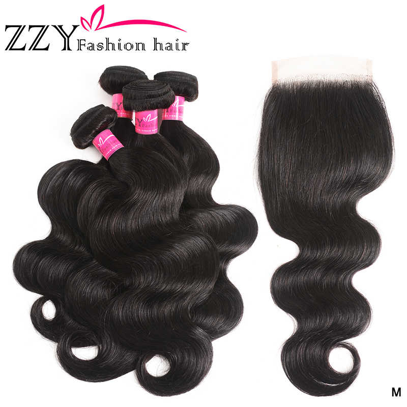 ZZY Body Wave Bundles With Closure Brazilian Hair Weave 4 Bundles With Lace Closure 4x4 non-remy Human Hair Weave Extensions