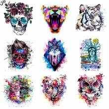 Pulaqi Colorful skull Lion tiger Patch Jeans Iron on Transfer for Clothes T-shirt Dresses DIY Thermal Animal Sticker H