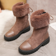купить 2019 New Luxury Suede Snow Boots Women Plus Fur Warm Winter Boots Comfort Round Toe Lace Up Black Brown Ankle Boots botas mujer по цене 1354.73 рублей