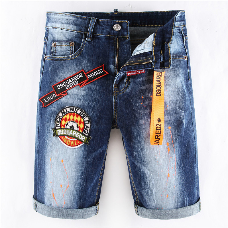 Summer New Men's slim shorts jeans stretch badge paint short ripped jeans pants male trousers clothes streetwear hip hop for men image