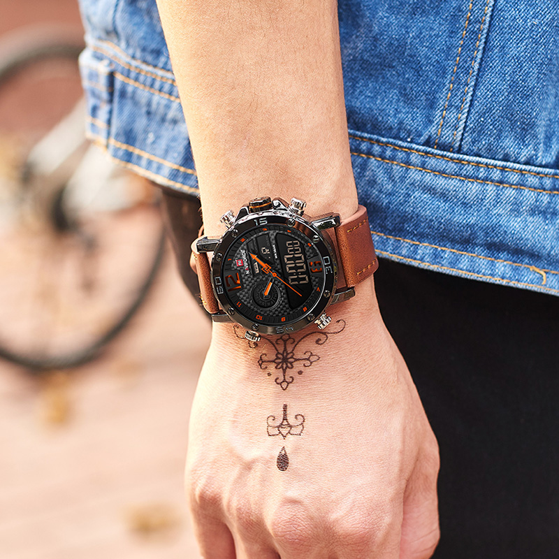 NAVIFORCE Men Watches Top Luxury Brand Men Leather Sport Watch Men's Quartz LED Digital Clock Military Wrist Watch Drop shipping 6