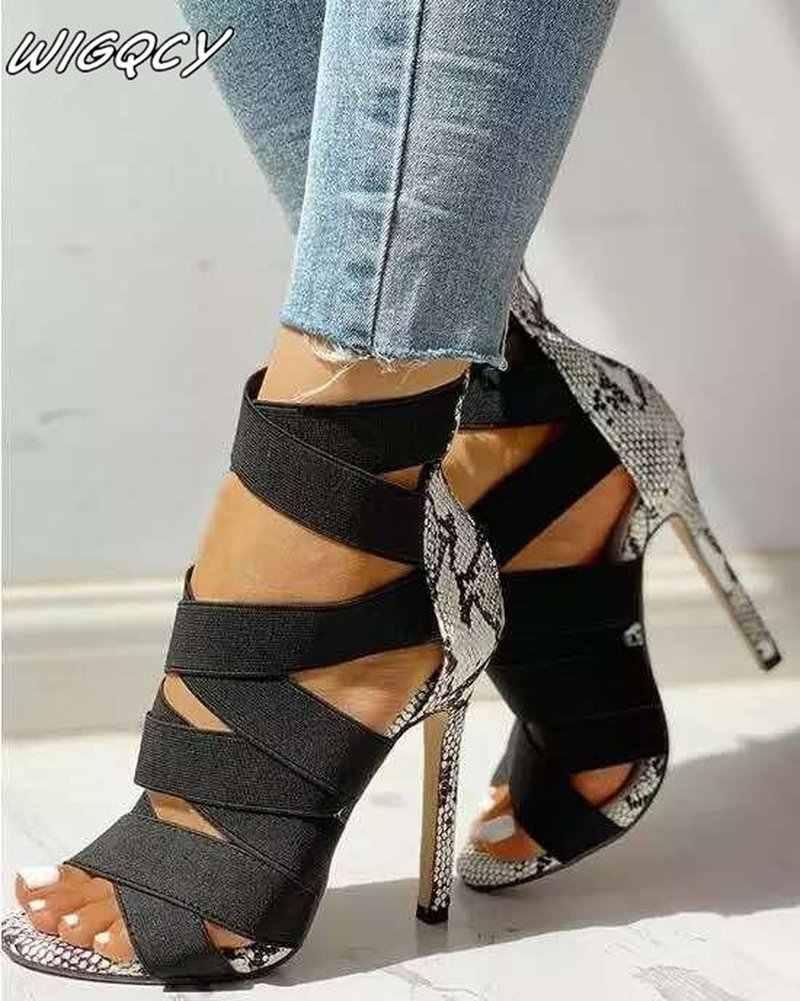 Kadın sandalet yüksek topuklu gladyatör ayak bileği kayışı kadın Peep Toe Stiletto seksi kadın topuklu Chaussures Femme yaz kadınlar
