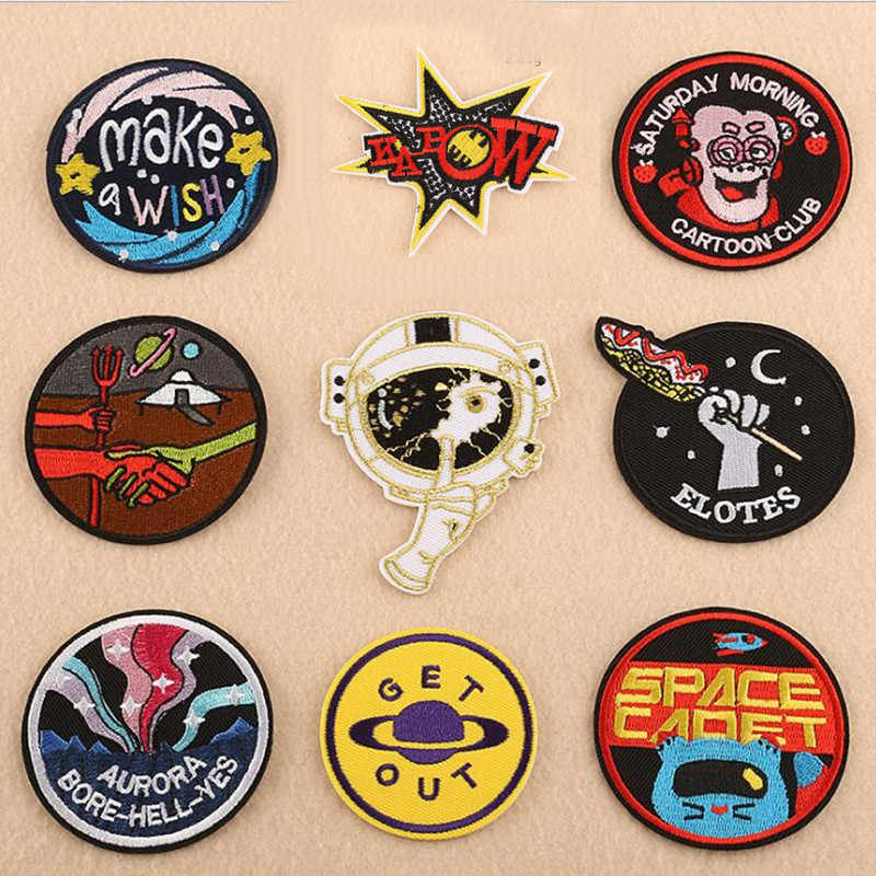 Skull Love Circular Iron On Patches For Clothing Repair Patch Embroidered Close Shoes Bags Badges Embroidery DIY
