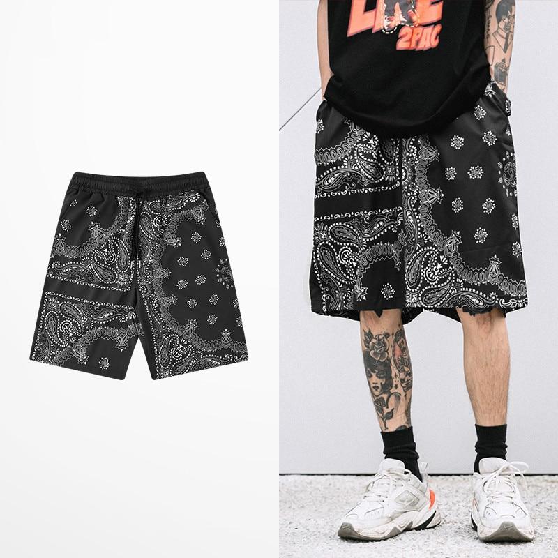 Retro Japanese Style Shorts Men Casual Wear Hip Hop Cashew nut Print Short Pants Tide Brand Skateboard Street Men's Shorts