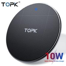 Topk carregador sem fio para iphone xs max x 8 plus 10 w almofada de carregamento rápido para samsung nota 9 nota 8 s10 plus
