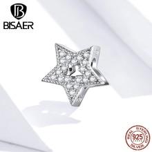 Подвеска в виде звезды, серебряные бусины с блестящим кубическим цирконием, бусины в форме звезды, Оригинальные Серебряные украшения 925 про...