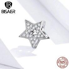 Breloques étoile BISAER 925 argent Sterling zircon cubique pavé étoiles célestes perles breloque argent Original 925 bijoux EFC210