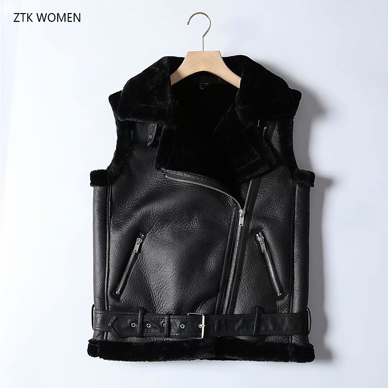 Autumn 2019 faux fur vest women turn down collar sleeveless jacket streetwear belt zipper   leather   warm coat female winter vest
