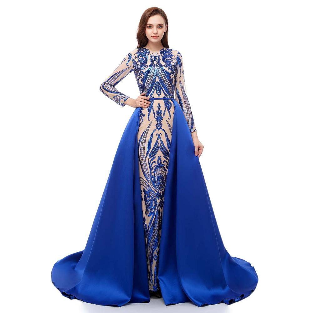 2019 Blue Evening Dress Long Sleeve O Neck Satin Detachable Train Prom Formal Party Gowns Robe De Soiree Abendkleider
