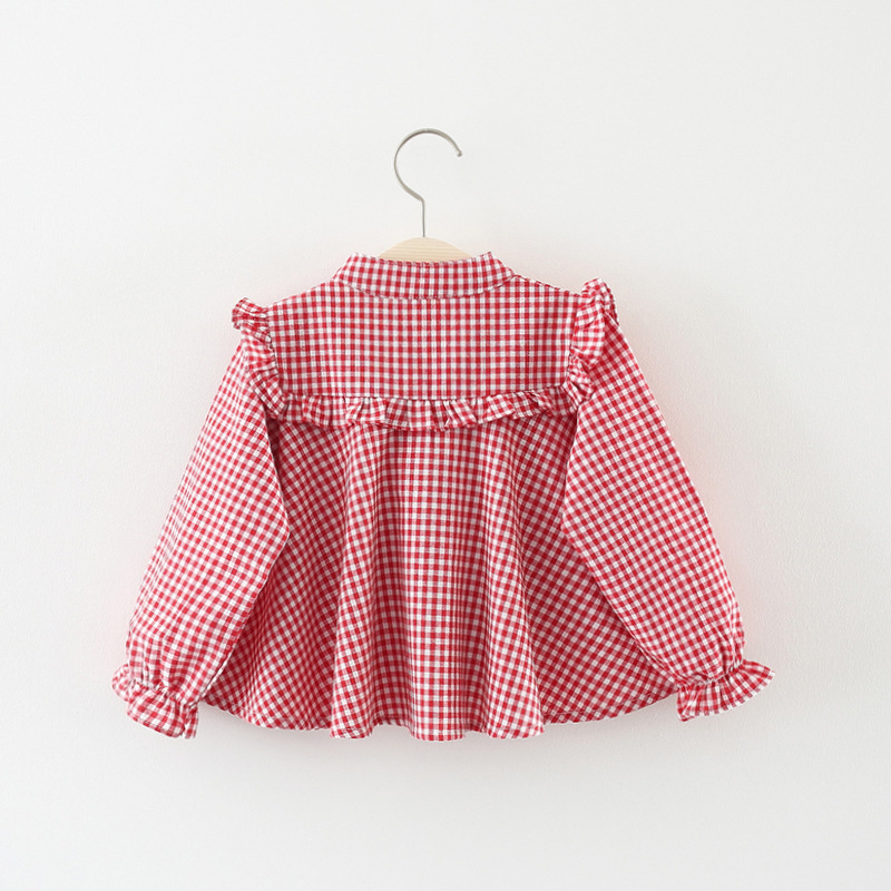 Childrenswear 2019 Spring New Products Girls Pure Cotton Long-sleeve Blouse Infant Plaid Princess Shirt Korean-style Tops