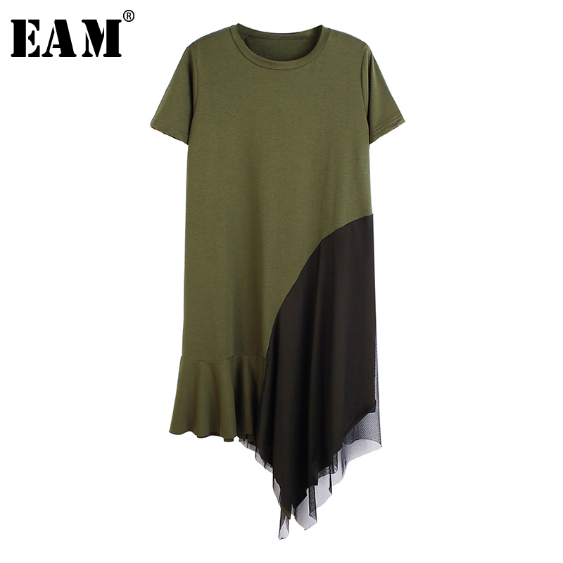 [EAM] Women Army Green Mesh Split Big Size Dress New Round Neck Short Sleeve Loose Fit Fashion Tide Spring Summer 2020 1S589