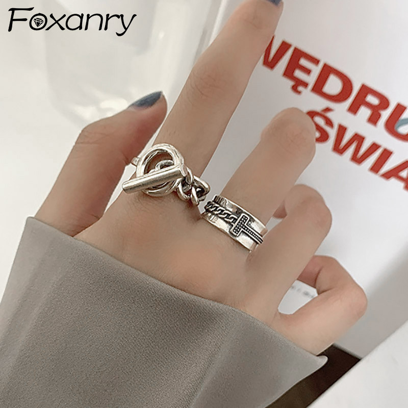 Foxanry Minimalist 925 Sterling Silver Trendy Rings for Women Vintage Punk Thai Silver Width Chain Geometric Party Jewelry Gifts