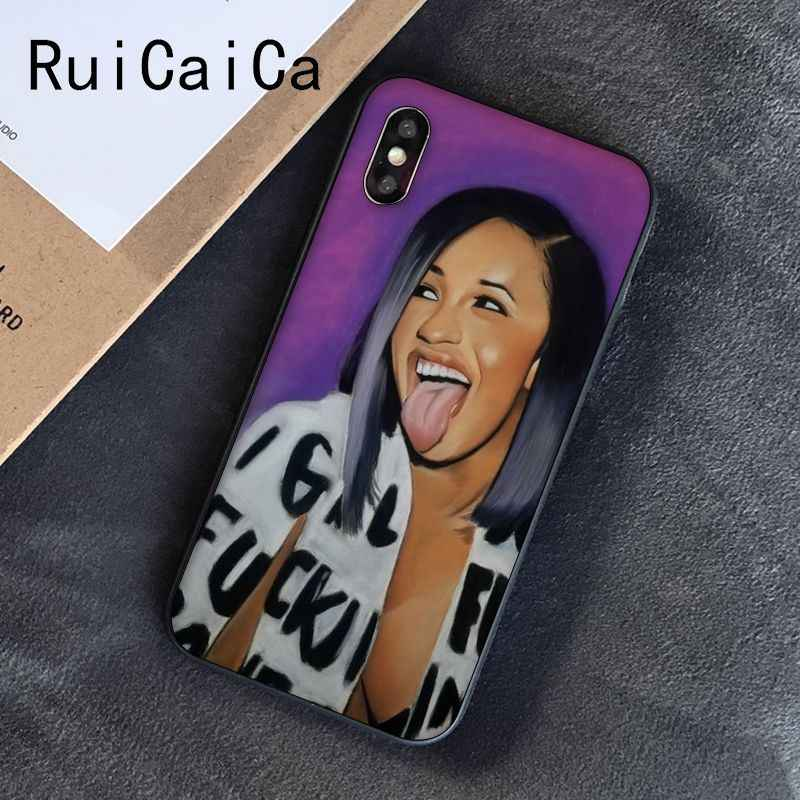 Ruicaica Cardi B Nữ Thần Nhất TPU đen Ốp Lưng Điện Thoại dùng cho iPhone 5 5Sx 6 7 7 Plus 8 8 plus X XS MAX XR 10 Bao