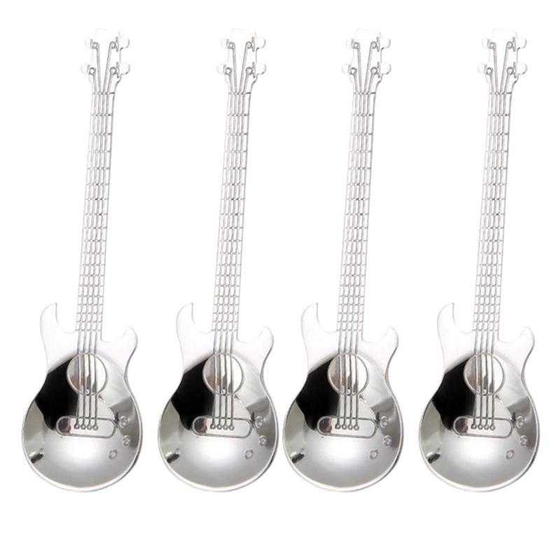 الغيتار ملاعق القهوة ، 4 قطعة الفولاذ المقاوم للصدأ الموسيقية القهوة ملاعق ملاعق خلط ملاعق السكر ملعقة (الفضة)|Coffee Scoops| - AliExpress
