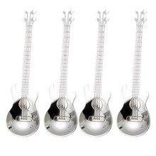 Cucharillas de café de guitarra, 4 Uds cucharas de café musicales de acero inoxidable cucharas de mezcla cucharas cuchara de azúcar (Plata)
