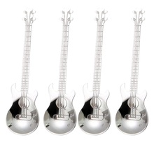 Coffee Spoons Guitar Stainless-Steel Silver Musical 4pcs
