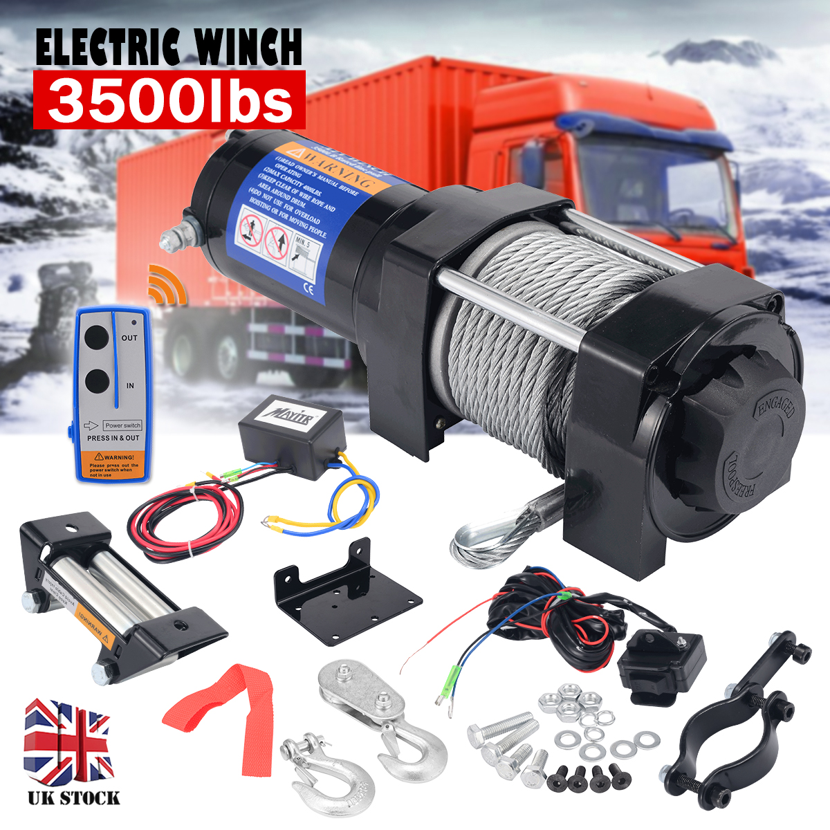 3500LBS Electric Recovery Winch Kit 12V DC Boat ATV Trailer Steel Cable Powerful Winch Car Trailer Truck With Remote Control