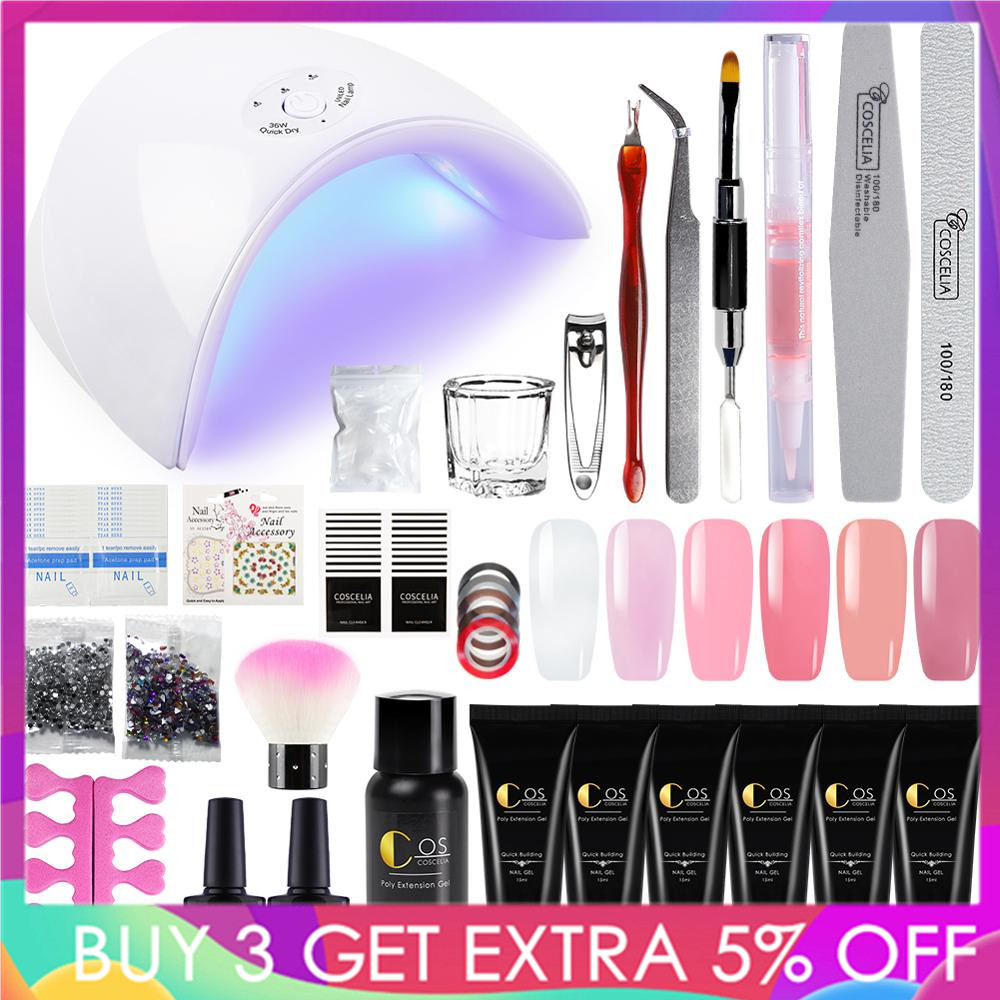 COSCELIA Manicure Set Extend Builder Poly Gel Kits Finger Nail Extension UV LED Acrylic Builder Gel Nail Lamp Crystal Jelly