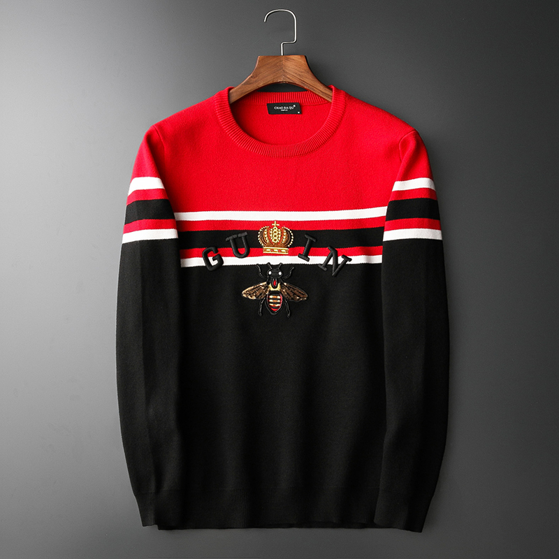 New 2020' Men Luxury Vintage Bee Crown Stripes Embroidered Casual Sweaters Pullover Asian Plug Size High Quality Drake #N176