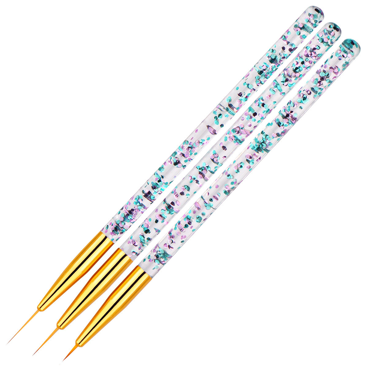 3Pcs/set Nail Art Transparent Handle Stripe Line Liner Painting Brush Acrylic Pattern Drawing DIY Pen Manicure Tool