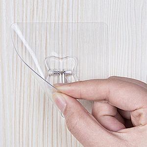 Image 3 - 2 pz/lotto Ganci Da Bagno Muro di Forte Pasta Gancio Bastone Trasparente Rimovibile Casa Chiave Towel Holder Hanger Bagno Cucina Ganci