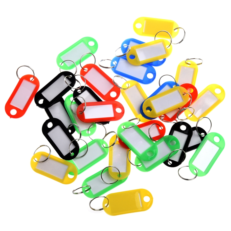 30 X Coloured Plastic Key Fobs Luggage ID Tags Labels Key Rings With Name Cards,  For Many Uses - Bunches Of Keys, Luggag