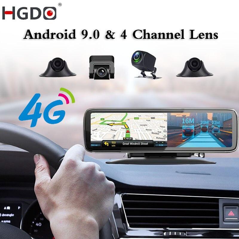 2021 HGDO, Видеорегистраторы для автомобилей 4 канала объектив Android 9,0 приборной панели Камера видео Регистраторы HD Зеркало заднего вида видеоре...