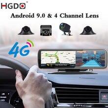 HGDO-Cámara de salpicadero DVR para coche, grabador de vídeo HD para espejo retrovisor, cámara de salpicadero, 4 canales, ADAS, Android 2021, 9,0