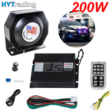 200W 18 Sound Loud Car and Truck Warning Alarm Police Siren Horn 18 Tones Ambulance Emergency Electronic Horn Kit PA MIC System