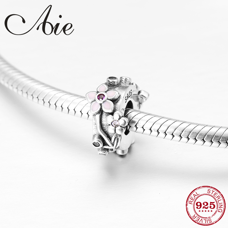 Spring 925 Sterling Silver Fine Flowers Pink CZ Stopper Spacer Beads Fit Original Pandora Charm Bracelet Jewelry Making