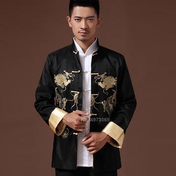 Odzież męska 2020 haft smok Tangsuit tradycyjna chińska odzież dla koszula męska Top kurtka Cheongsam Hanfu Vintage tanie i dobre opinie Poliester CN (pochodzenie) Suknem Tang Suit Jacket