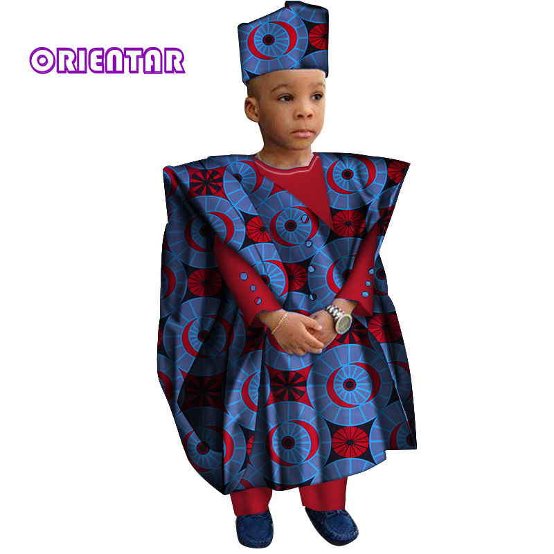 African Clothes With Head Scarf Kids Boy Tops And Pants African Print Long Sleeve Shirt Children Bazin Riche Dashiki Gown WYT200