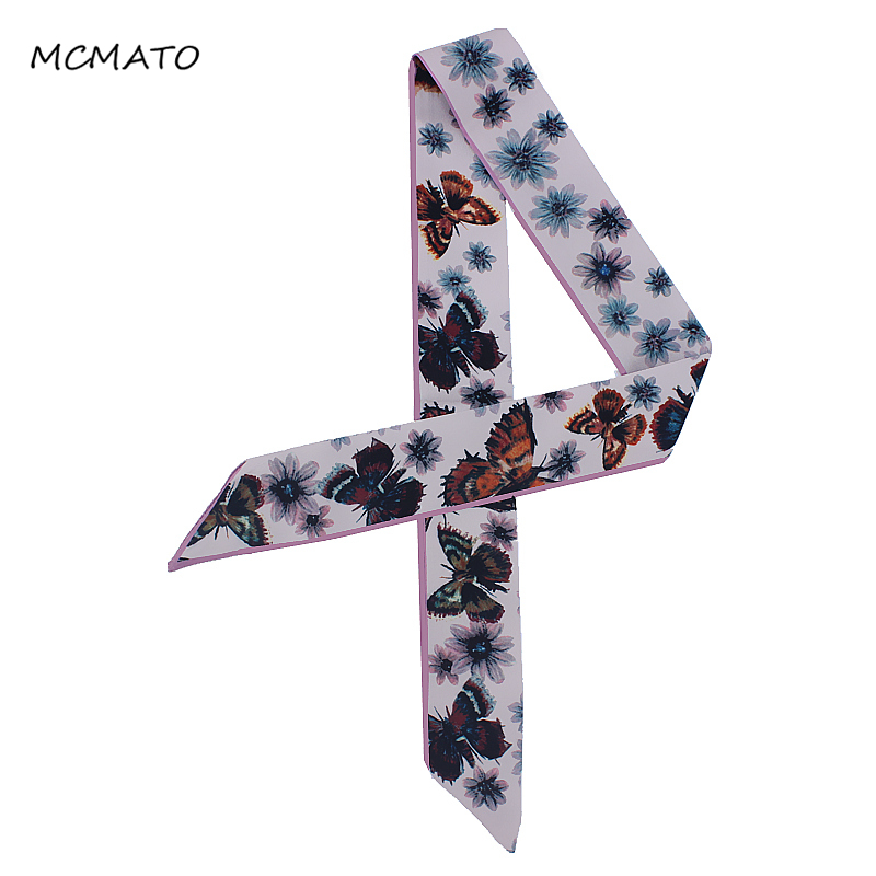 New Design Butterfly Flower Floral Printed Silk Scarf Women Tie Luxury Brand Scarf Bag Ribbons Head Scarf Small Long Scarves