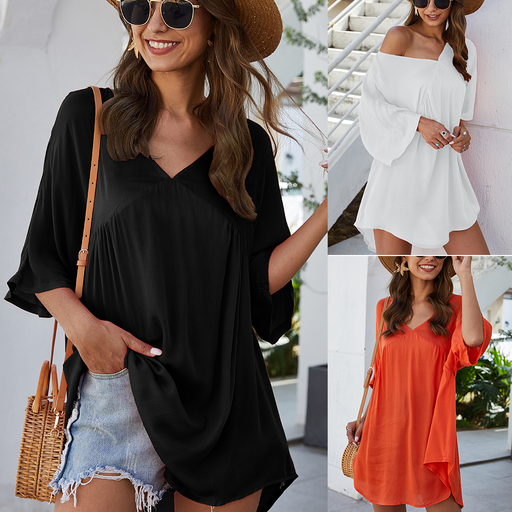 2020 Summer Women Feminino Boho Transparent Beach Dress Beach Cover-up Swimwear Short Sleeve Loose Tunic Beach Sundress