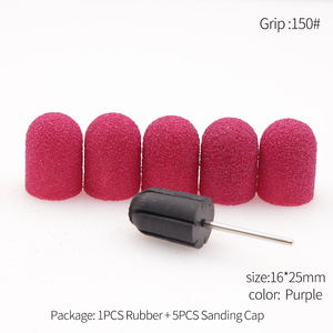 Image 5 - 5PCS 16*25 80/120/150/180/240 Sanding Caps +1PC Rubber Mandrel Cutter for Pedicure Polishing Sanding Band for Pedicure Accessory