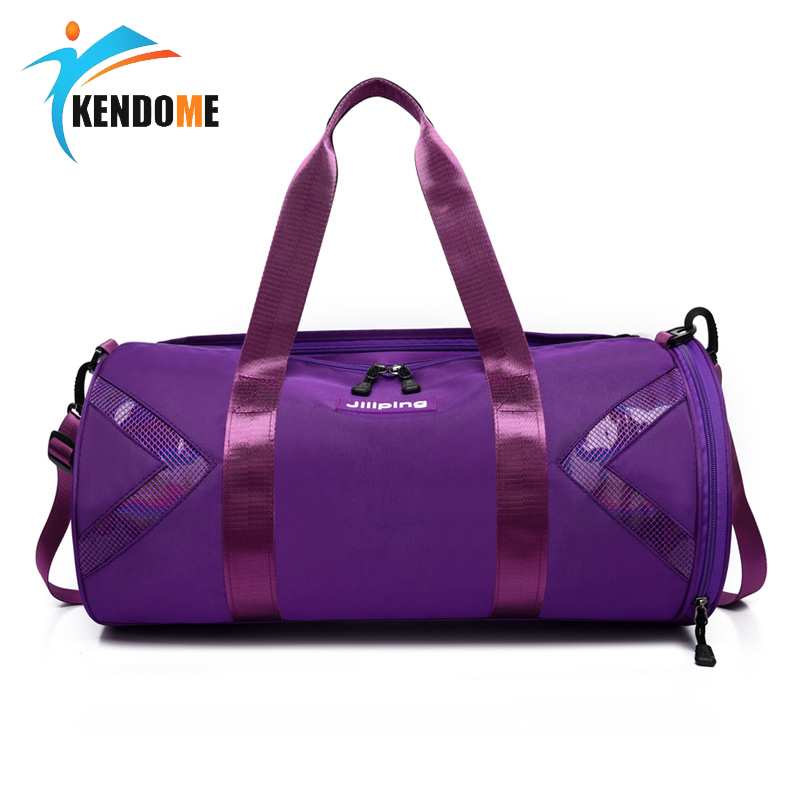 Women's Sports Fitness Bag Gym Swimming Training Bags Dry Wet Separate Travel Bag Handbag Cylinder Travel Luggage Duffle
