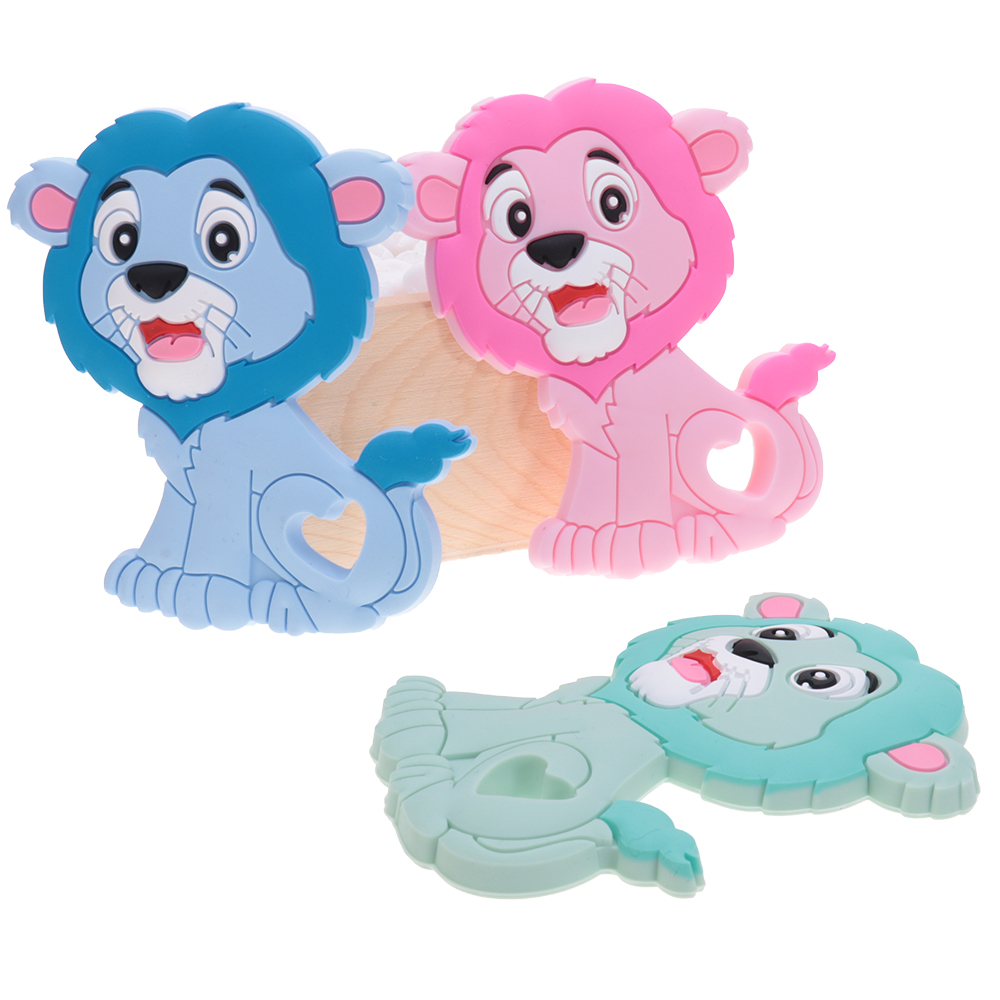 Baby Silicone Teether Animals Lion Food Grade Silicone Teethers Diy Chew Toys Silicone Fittings For Nurse Accessories And Gifts