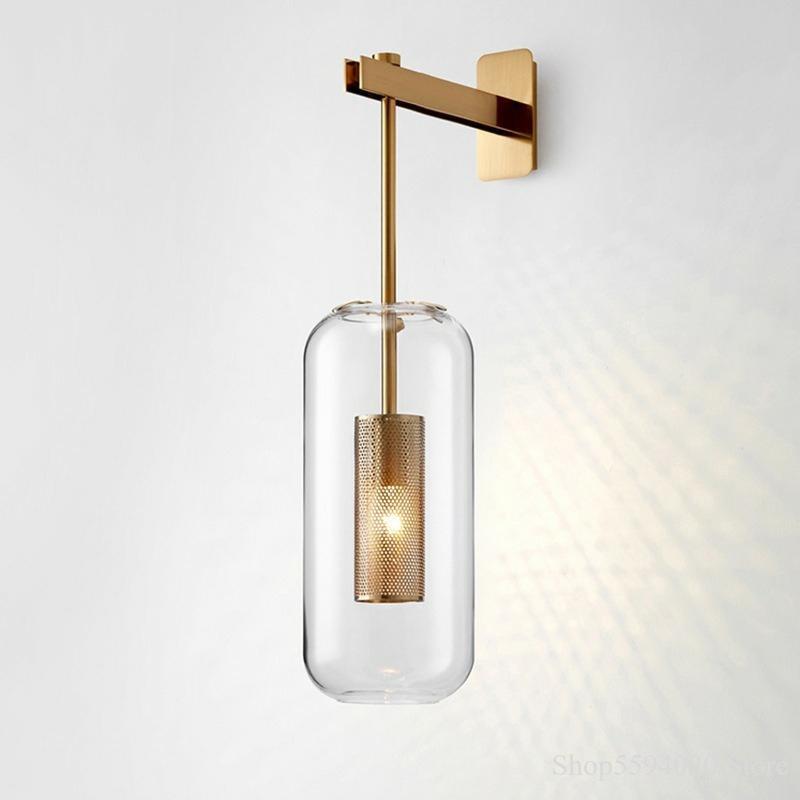 Minimalist Modern Gold Glass Wall Lamp Light Luxury Creative Art Mesh Wall Lamp American Living Room Bedside Restaurant Designer