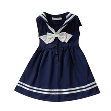 Girls Dress 2019 Hot Sale Summer Sleeveless Children's Dress with Bow Baby Cute Dress Military Navy Style Striped Kids Dresses menoea girls dress 2017 new summer lolita style striped dress bow sleeveless turn down collar design for baby girls dress 2 6y