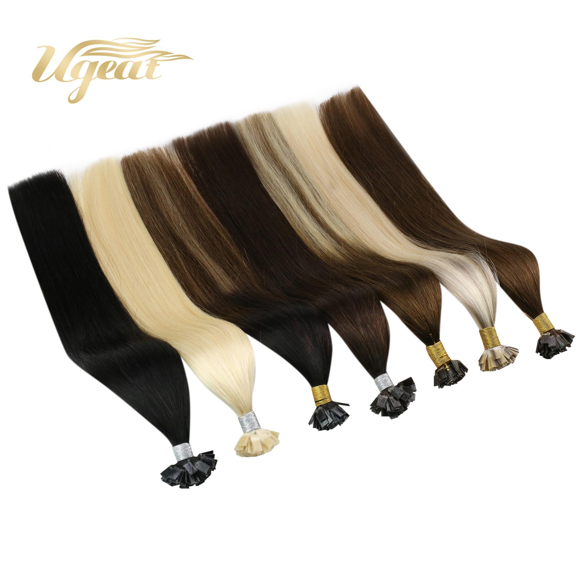 Ugeat Flat Tip Hair Extensions Human Hair Machine Remy Hair 14-24