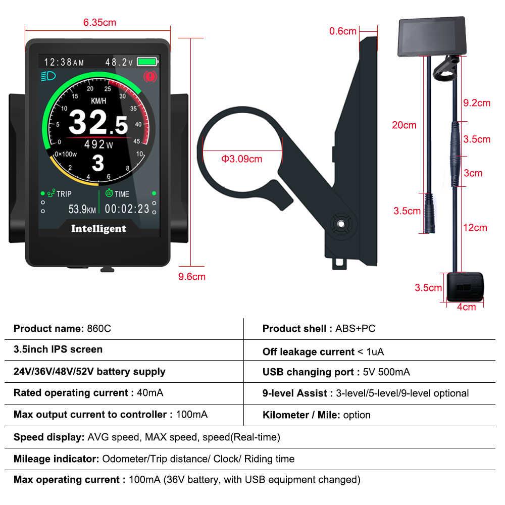 Bafang colorfu LCD Panel Display for Mid-drive Motor Kits Electric Bicycle Ebike