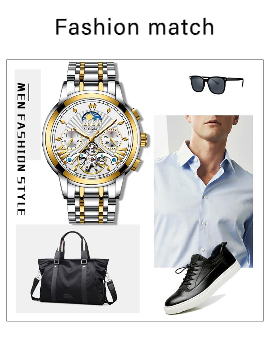H1a8bcf709b1540e0983a1ab26c86c028i LIGE Official Store Mens Watches Top Brand Luxury Automatic Mechanical Business Clock Gold Watch Men Reloj Mecanico de Hombres