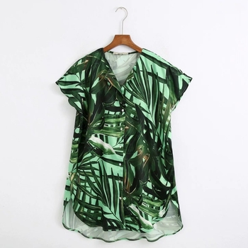 New 2020 Women Tropical Green Leaves Print Casual Smock Blouse Ladies Short Sleeve Loose Kimono Shirts Chic Blusas Tops LS6618