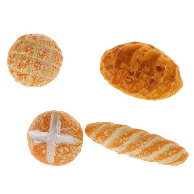 4pcs 1:12 Miniature Dollhouse Mini Resin Bread Dollhouse Miniature Food Breakfast Snack Dessert