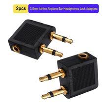2 Stks/partijen 3.5 Mm Jack Audio Adapter Airline Vliegtuig Reizen Reizen Oortelefoon Hoofdtelefoon Jack Adapter