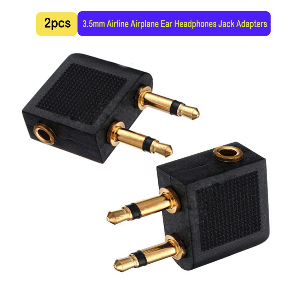 2pcs/lots 3.5mm Jack Audio Adapter Airline Airplane Travel Traveling Earphone Headphone Headset Jack Adapter image