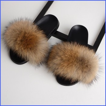 Furry Slippers Women Fox Fur Slides Summer Fluffy Woman Shoes Home Cute Plush Sandals Indoor Female Footwear Outside Luxury New