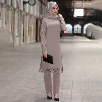 2PCS Muslim Abaya Dress Islamic Turkish Dubai Woman Solid Long Sleeve Kaftan Lady Elegant Lace Middle East Clothing Set
