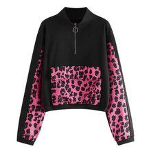 Jesień i zima moda różowy nadruk wzór lamparta bluzy bluza Modis z długim rękawem wzór lamparta, patchworkowa bluza z kapturem # B