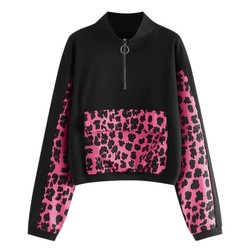 Autumn and Winte Fashion Pink Leopard Printed Hoodies Sweatshirt Modis Long Sleeve Leopard Patchwork Hooded Pullover #B
